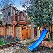 carport, slide, storage, shed, porch, playroom, roof