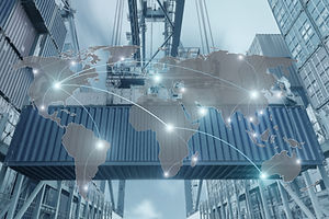 Map global logistics partnership connection of Container Cargo freight ship for Logistics