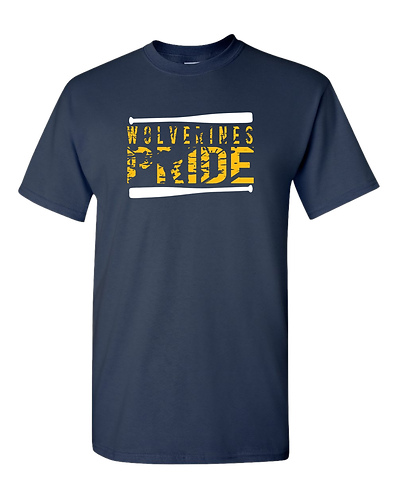 Wolverines Pride- Youth 100% Cotton T- Shirt (Navy)