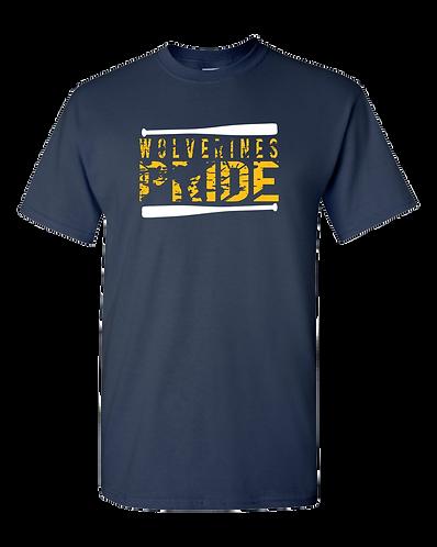 Wolverine Pride- Adult 100% Cotton T- Shirt (Navy)