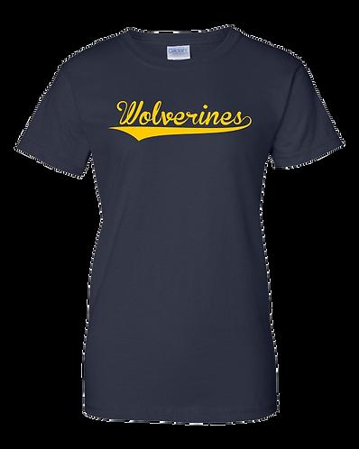 Wolverines Script- Ladies 100% Cotton T- Shirt (Navy)