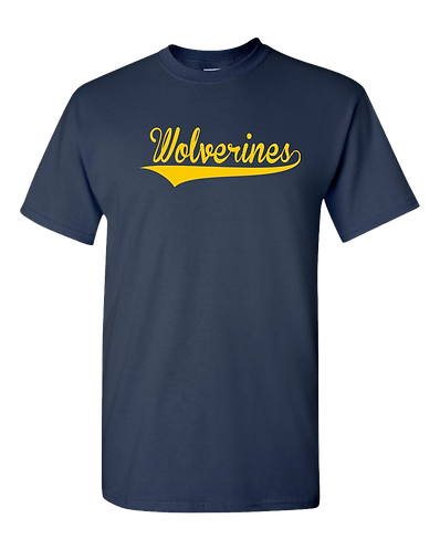 Wolverines Script- Youth 100% Cotton T- Shirt (Navy)