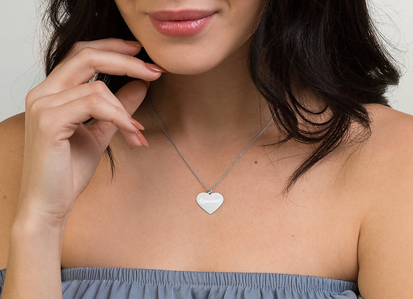 Gymnast Engraved Heart Necklace 18 inch