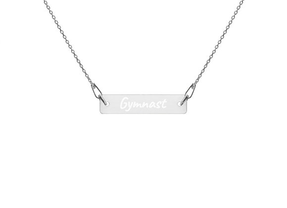 Gymnast-Engraved Silver Bar Chain Necklace