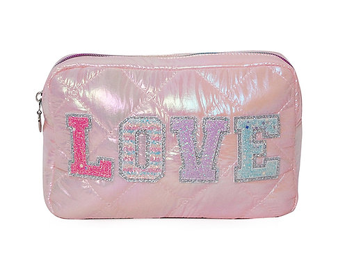 LOVE heart Puffy Quilted Pink Pouch