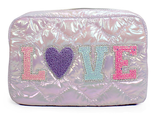 LOVE heart Puffy Quilted Lavender