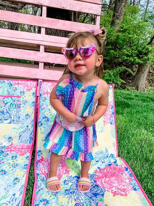 Rainbow Heart Ruffle Dress