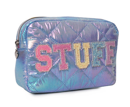 STUFF Puffy Quilted Pouch Blue