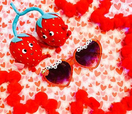 Red Glitter Heart Sunny