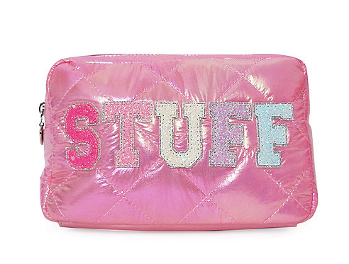 STUFF Puffy Quilted Pouch Hot Pink