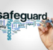 Safeguard word cloud concept on grey bac