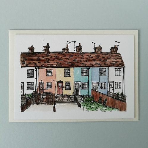 Rainbow Houses Watercolour Greetings Card