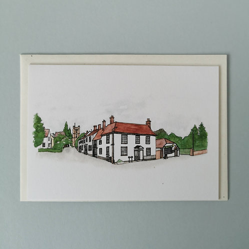 Great Dunmow Watercolour Greetings Card - Church End