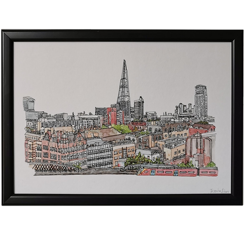 A View Across London Watercolour Print - Looking East from Lambeth Palace Road