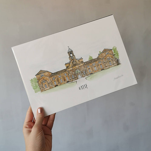 Jessica Sian Illustration, A Bespoke Wedding Present, An A4 watercolour painting of the wedding venue, with the wedding date
