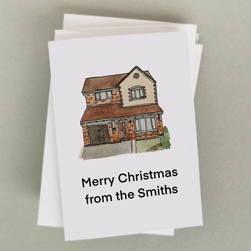 Jessica Sian Illustration, Personalised Christmas Card of a family home with Merry Christmas from the Smiths typed underneath