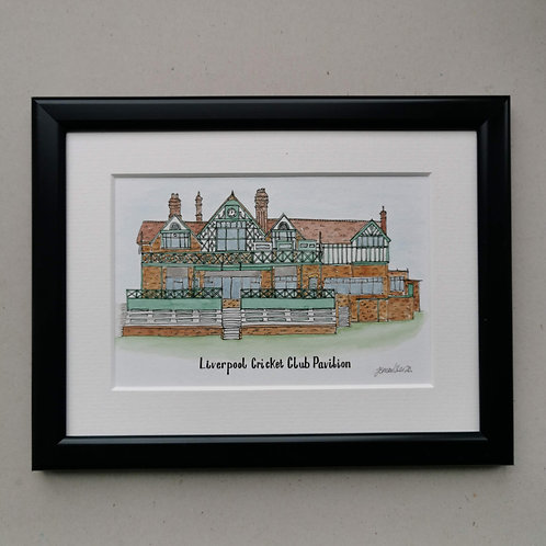 Jessica Sian Illustration, A Bespoke Painting of Liverpool Cricket Club Pavillion, Hand Painted in Watercolours, Framed.