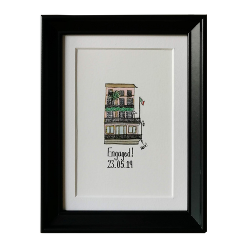 Bespoke Engagement Gift - Personalised Watercolour Illustration