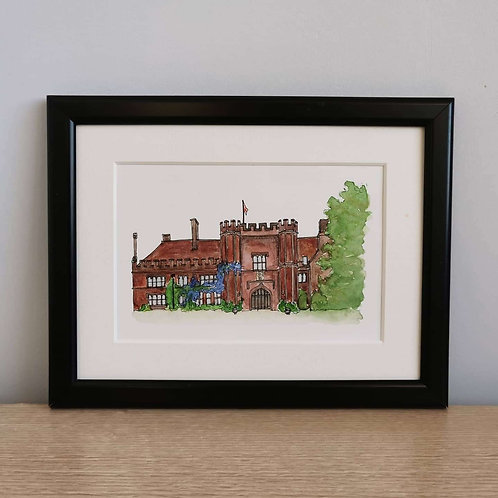 Jessica Sian Illustration, A Framed Watercolour Wedding Venue Painting,, hand drawn and painted, an original piece of art