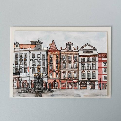 Prague Greetings Card - Malé náměstí Old Town