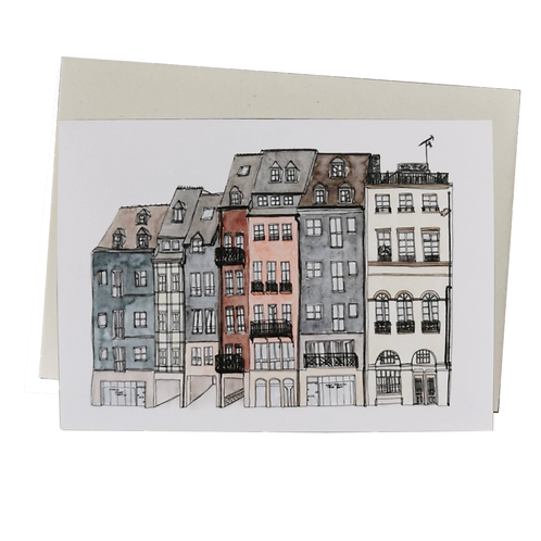 Honfleur Watercolour Greetings Card - Boulevard Charles V