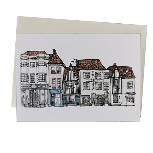 Coggeshall Watercolour Greetings Card - Market End