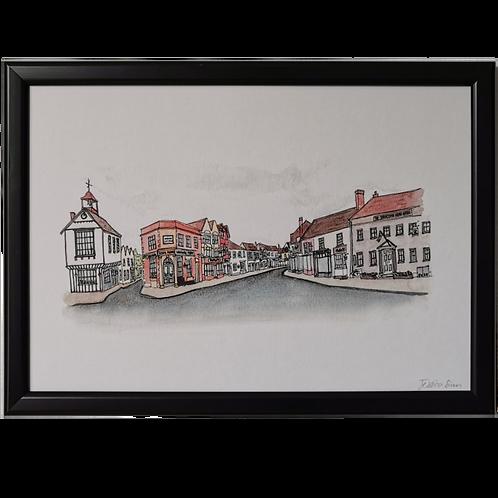 Dunmow High Street Watercolour Print - A4
