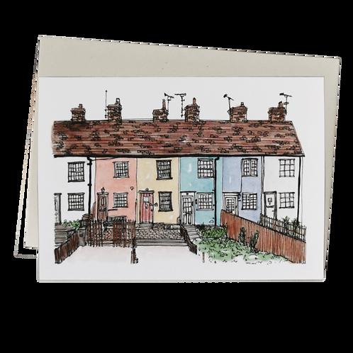 Rainbow Houses Watercolour Greetings Card