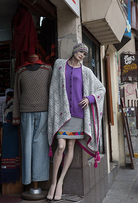 High Quality and Fashionable Alpaca ponchos at the Sagarnaga in La Paz, Bolivia