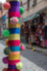 Colourful tourist street decoration at the Sagarnaga in La Paz, Bolivian