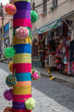 Colourful tourist street decoration at the Sagarnaga in La Paz, Bolivian