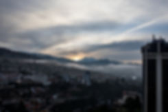 View at the Illumani from the hotel room in La Paz Bolivia