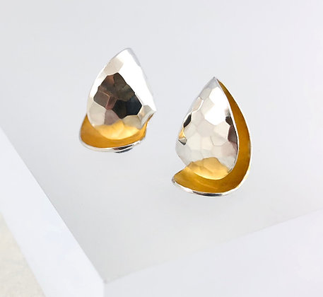 Two toned Faceted Curl Earrings