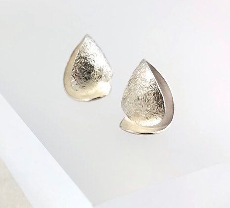 Silver Frosted Curl Earrings