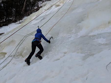 Ice Climbing on a Windy Day at Frankenstein Cliffs