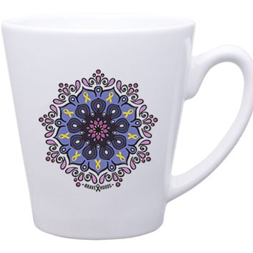 Mug - Mandala with Tiny Cancer Ribbons