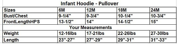 infant bravehoods hoodie measurements table