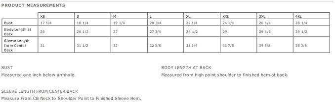 ladies bravehoods measurements table