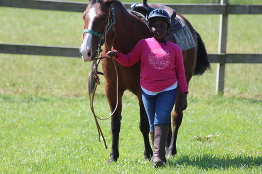 young girl with horse wearing bravehoods shirt
