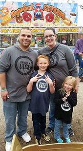 family wearing bravehoods hoodies