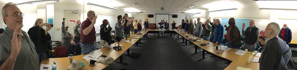 Ham radio operators being sworn in as disaster service workers.