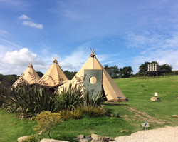 Tipi on the lawn