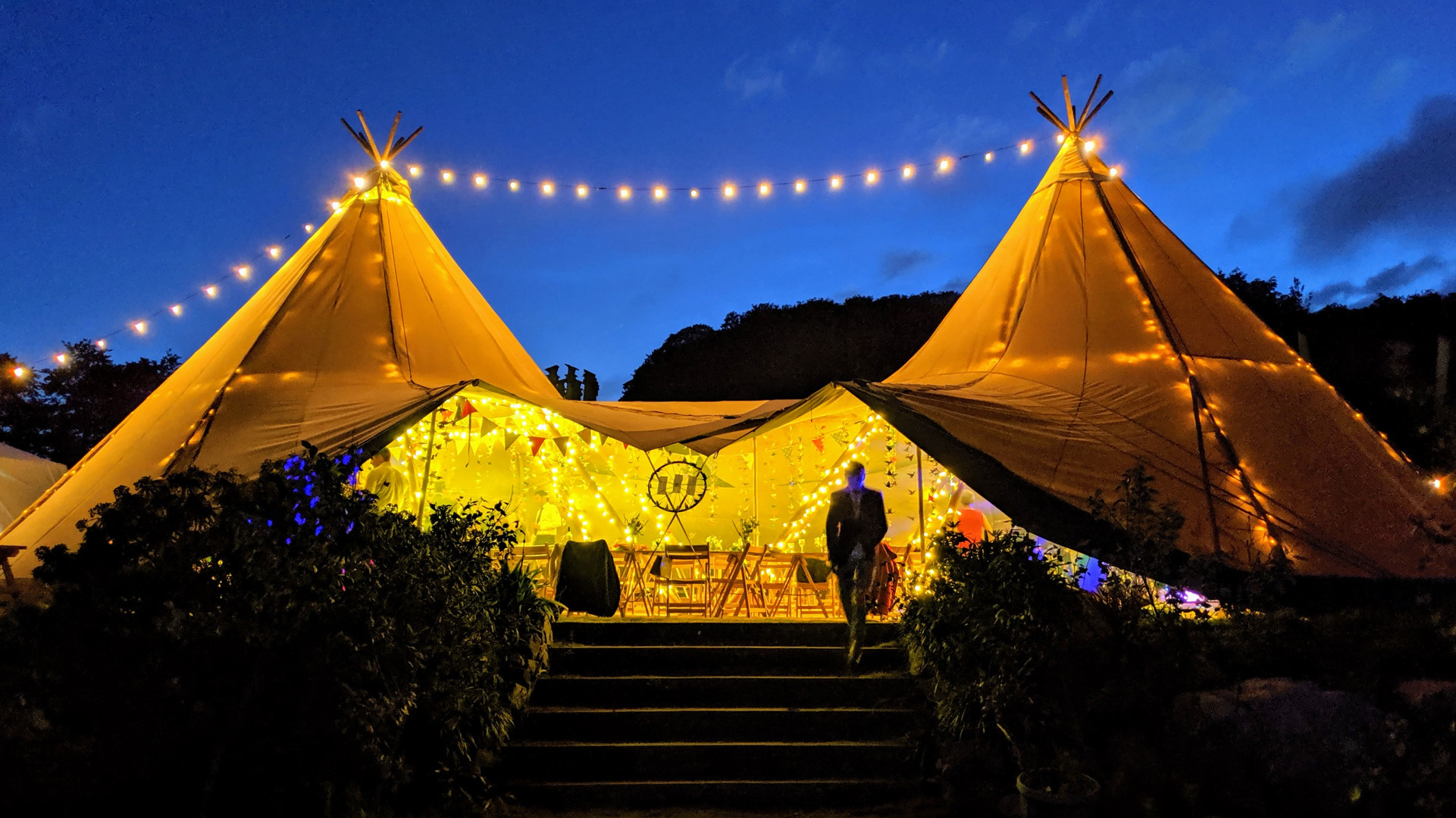 Tipi wedding on the lawn