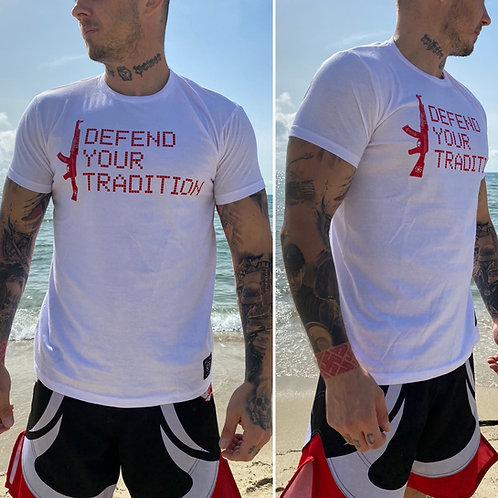 """T shirt blanc """"defend your tradition """" vol II"""