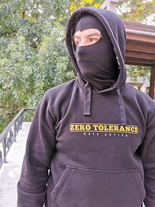 Sweat à capuche ninja « Zero tolerance Hate antifa « .