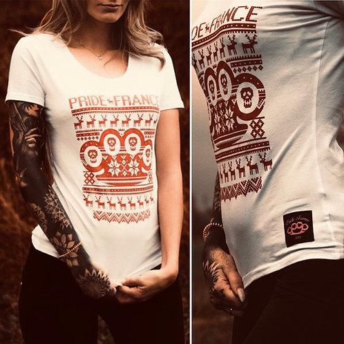 T shirt white x mas girly blanc