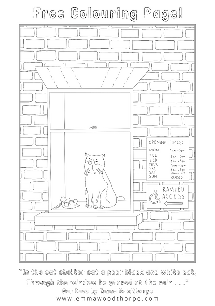 Free Colouring in Page Download. Our Dave Children's Book by Emma Woodthorpe. Cat. Cat Shelter.