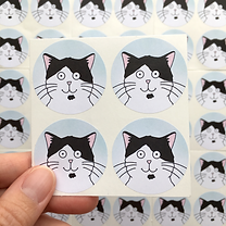 Our Dave Cat Stickers, four circular sti
