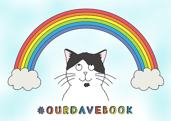 Dave the Cat coloured rainbow poster. Free Downloat. Cat. Our Dave Rhycming children's picture book.