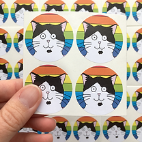 Our Dave rainbow stickers set of four.pn